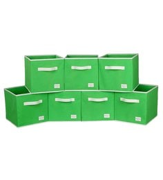 Uberlyfe Cubies Cardboard 20 L Green Storage Boxes - Set Of 7