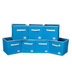 Uberlyfe Cubies Cardboard 20 L Light Blue Storage Boxes - Set Of 7