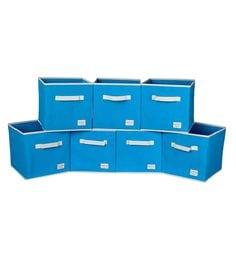 Uberlyfe Cubies Cardboard 20 L Light Blue Storage Boxes - Set Of 7
