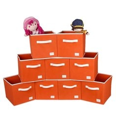 Uberlyfe Cubies Cardboard 20 L Orange Storage Boxes - Set Of 9