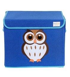 Uberlyfe Owl Cardboard & Bamboo 40 L Blue Single Flap Kids Storage Box - 1592941