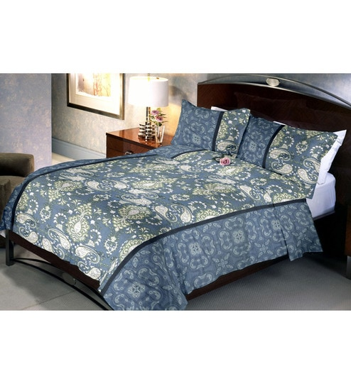 Uber Urban Grey Paisley Double Bedsheet Set