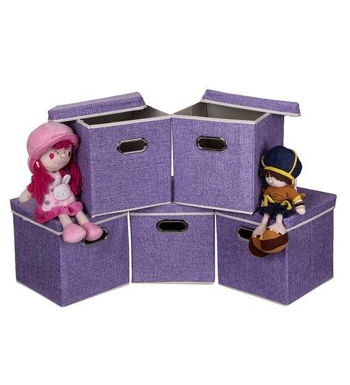 Uberlyfe Cardboard 25 L Purple Storage Boxes - Set Of 5