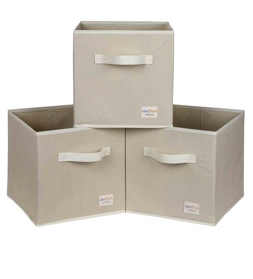 Uberlyfe Cubies Cardboard 20 L Cream Storage Boxes - Set Of 3