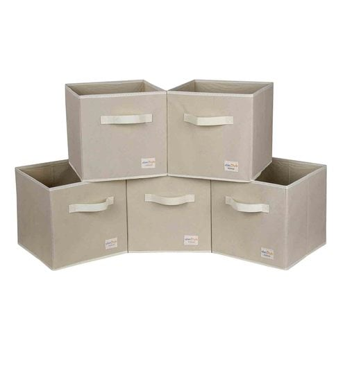 Uberlyfe Cubies Cardboard 20 L Cream Storage Boxes - Set Of 5