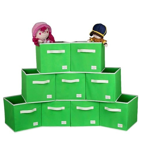 Uberlyfe Cubies Cardboard 20 L Green Storage Boxes - Set Of 9