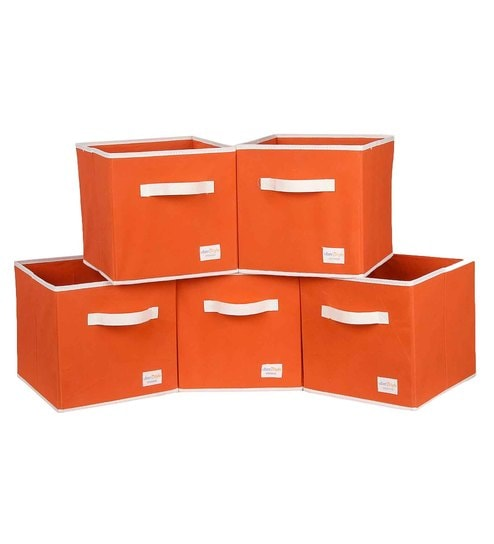 Uberlyfe Cubies Cardboard 20 L Orange Storage Boxes - Set Of 5
