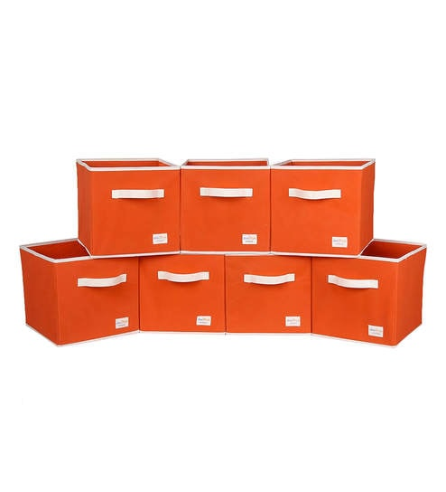 Uberlyfe Cubies Cardboard 20 L Orange Storage Boxes - Set Of 7