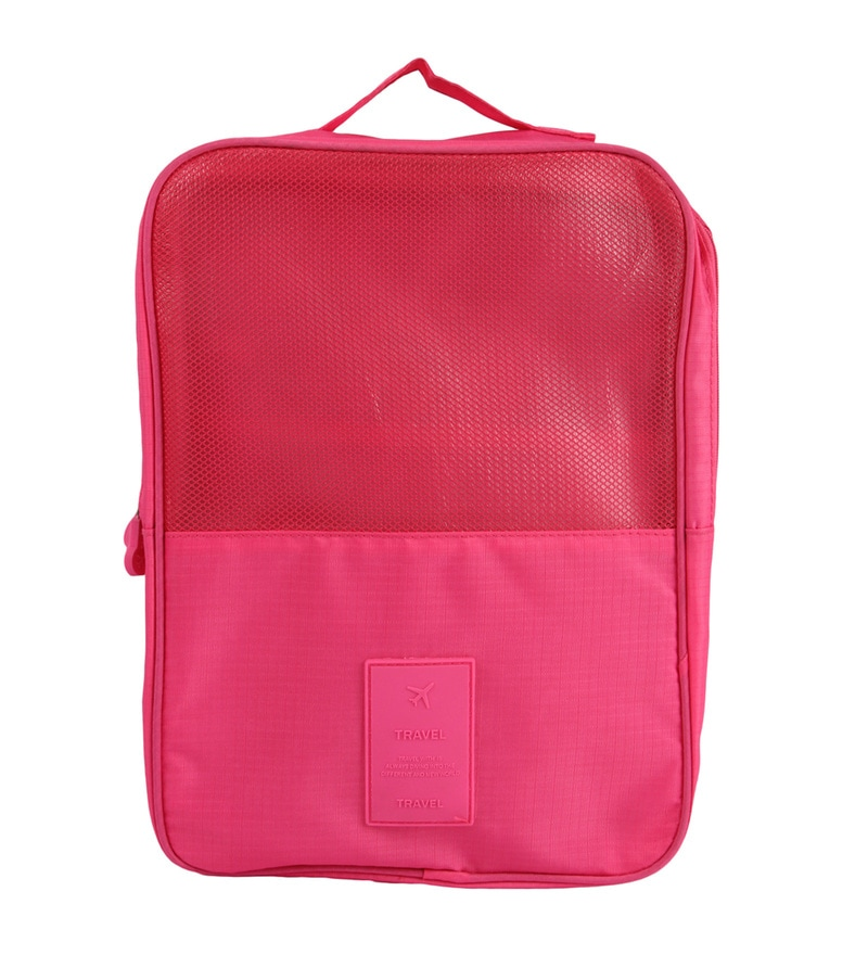 Uberlyfe Portable Waterproof Travel Polyester Pink Shoe Bag