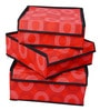 Red Polyester & Cardboard 3-Piece Cloth/Underwear Organizer Box with Lid Set by Uberlyfe