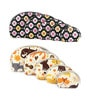 Uberlyfe Women's Kitten Motif & Floral Print Multipurpose Leather Black & Cream Pouch - Set of 10