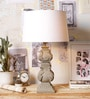 Off White Cotton Table Lamp by Ujjala