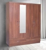 Ultima Four Door Wardrobe with Mirror in walnut Colour