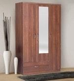 Ultima Three Door Wardrobe with Mirror in walnut Colour