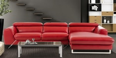 Ultra Modern LHS Two Sofa with Lounger in Red Leatherette