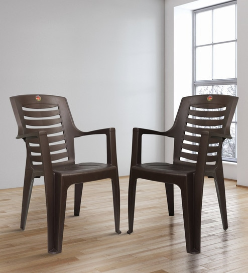 Remarkable Ultra Matt Plastic Chair In Brown Colour Set Of 2 By Cello Cjindustries Chair Design For Home Cjindustriesco