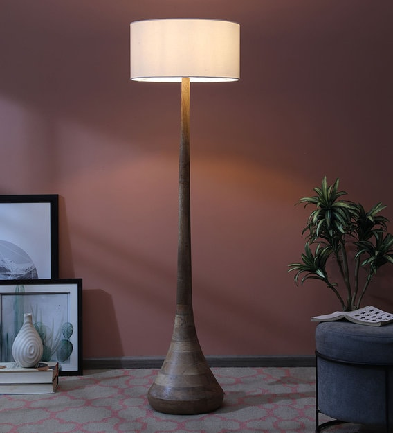 Ulrich White Fabric Shade Floor, What Floor Lamps Give The Most Light