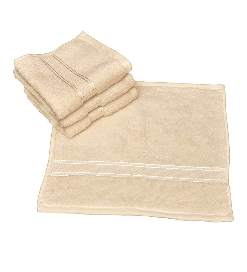 Avira Home Ultrasoft Cream Cotton Face Towel - Set of 4