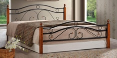 Umame Queen Size Metal Bed with Wooden Post in Black and Oak Finish