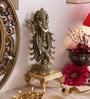 Antique Yellow Brass Mormukut Krishna Statue by Handecor