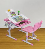 Universal Study Table Set in Pink and White Colour