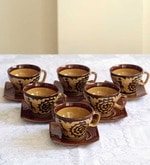 Unravel India 150 ML Warli Stoneware Cups & Saucers Set - Set of 6