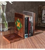 Unravel India Sheesham Wood Book End Set With Ceramic Tiles - Set Of 2