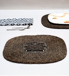 Unravel India Brown Sabai Grass Coasters - Set Of 2 - 1686986