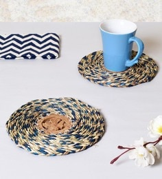 Unravel India Multicolor Sabai Grass Coasters - Set Of 2