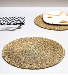 Unravel India Mustard Sabai Grass Coasters - Set Of 2