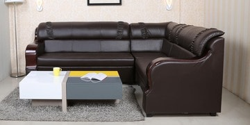 Unique Corner Sofa with Bent Wood Polished Arm Rests by Parin at pepperfry