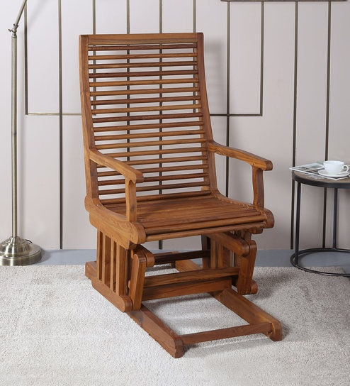 Buy Unconventional Rocking Chair In Natural Finish By Asanjo