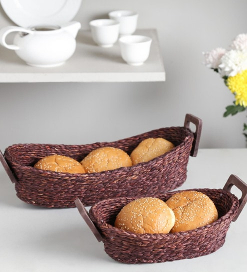 Buy Unravel India Black Sabai Grass Bread Baskets Set Of 2 Online