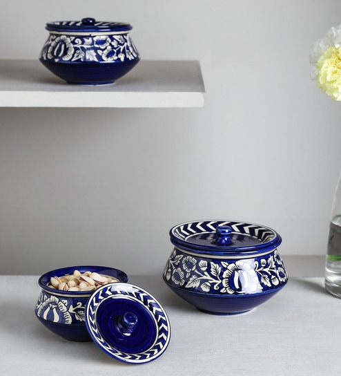 Unravel India Blue Ceramic Serving Bowls - Set Of 3