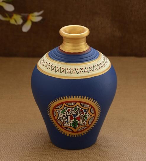 Buy Unravel India Blue Terracotta Warli Pot Online Pots Planters