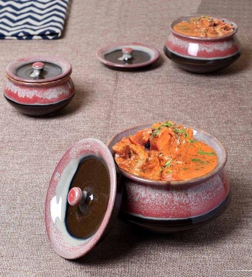 Unravel India Maroon & Dark Brown Ceramic Serving Bowls - Set Of 3