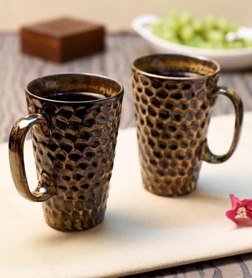 bfee7f9df07 Buy Ceramic Brown 300 ML Mugs- Set of 2 Online - Ceramic Mugs - Mugs ...