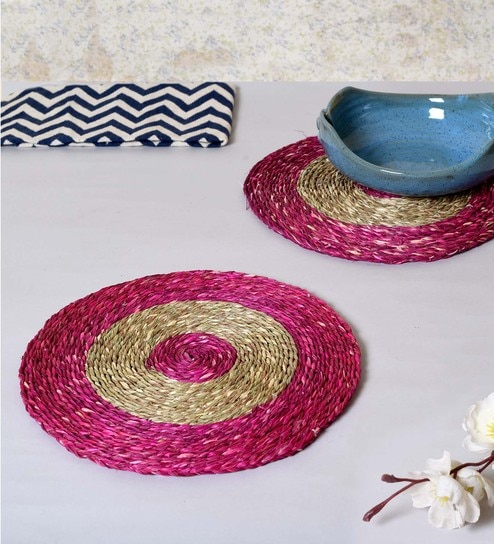 Unravel India Pink & Brown Sabai Grass Coasters - Set Of 2