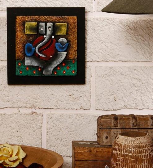 Buy Unravel India Multicolor Terracotta Abstract Ganesha Wall Decor ...