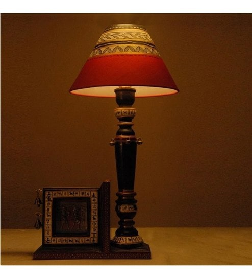 Unravel India Antique Wooden Table Lamp With Photo Frame