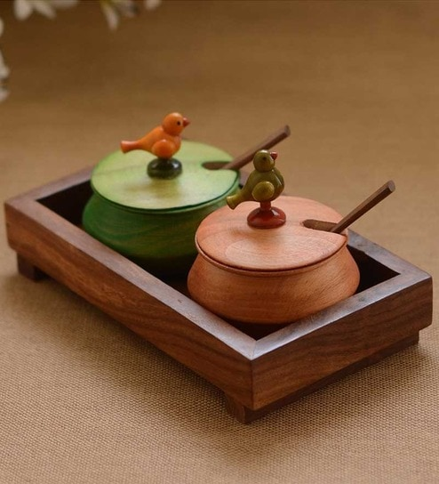 Buy Unravel India Wooden Multicoloured 2 Bird Jars With