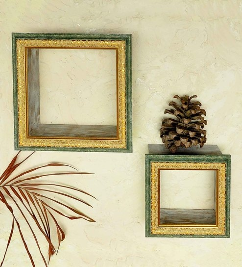 Buy Decorative Wall Shelf Set Of 2 In Green Golden Finish By
