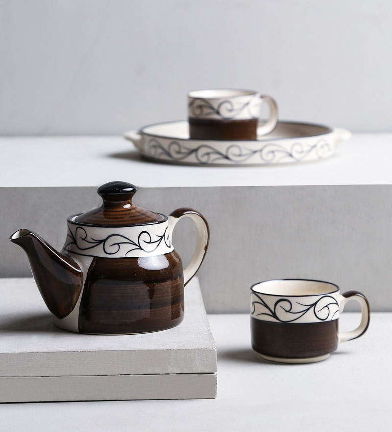 Unravel India Brown Stoneware 125 ML Morning Tea Set - Set of 4