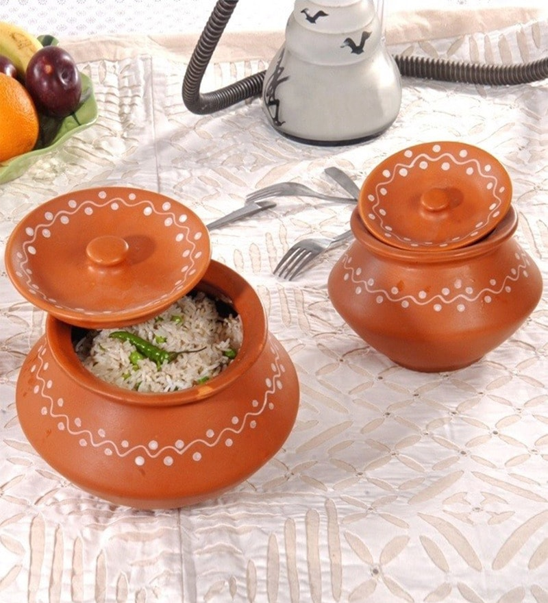 Unravel India Earthen Stoneware Handis with Lid - Set of 3