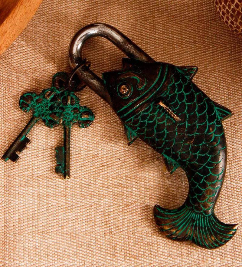 Unravel India Fish Secret Coated Brass Lock