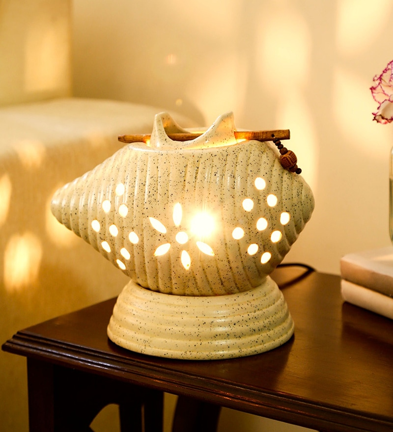 Grey Ceramic Table Lamp by Unravel India
