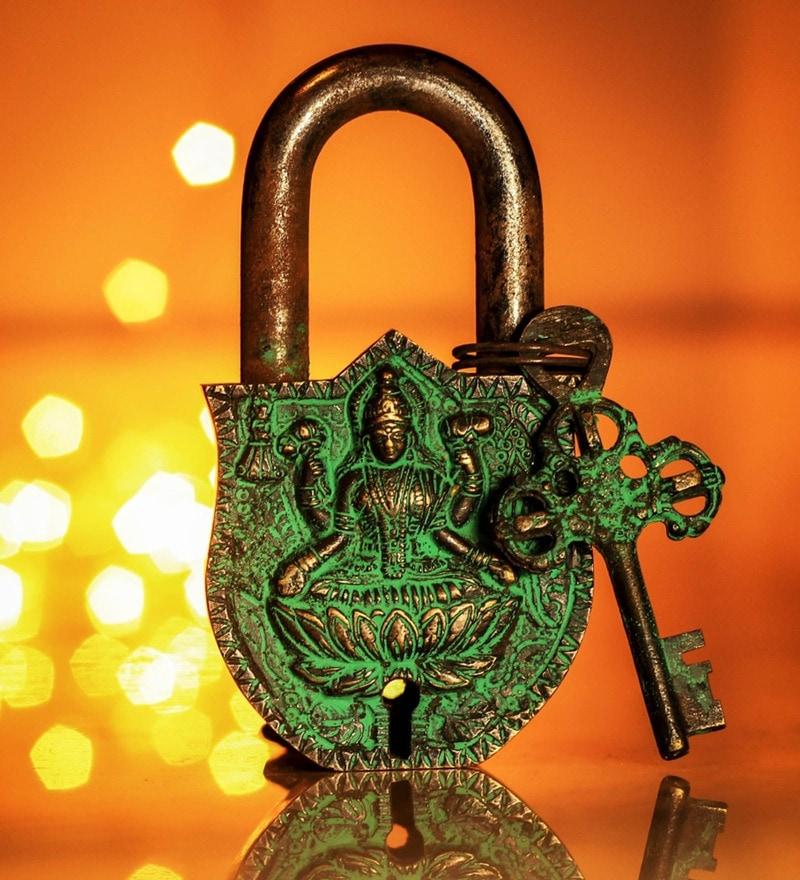Unravel India Lakshmi Coated Brass Lock