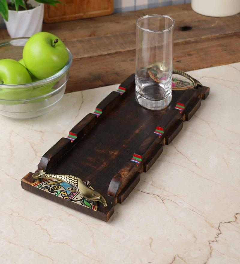 Unravel India Madhubani Handpainted Wood & Brass Small Tray