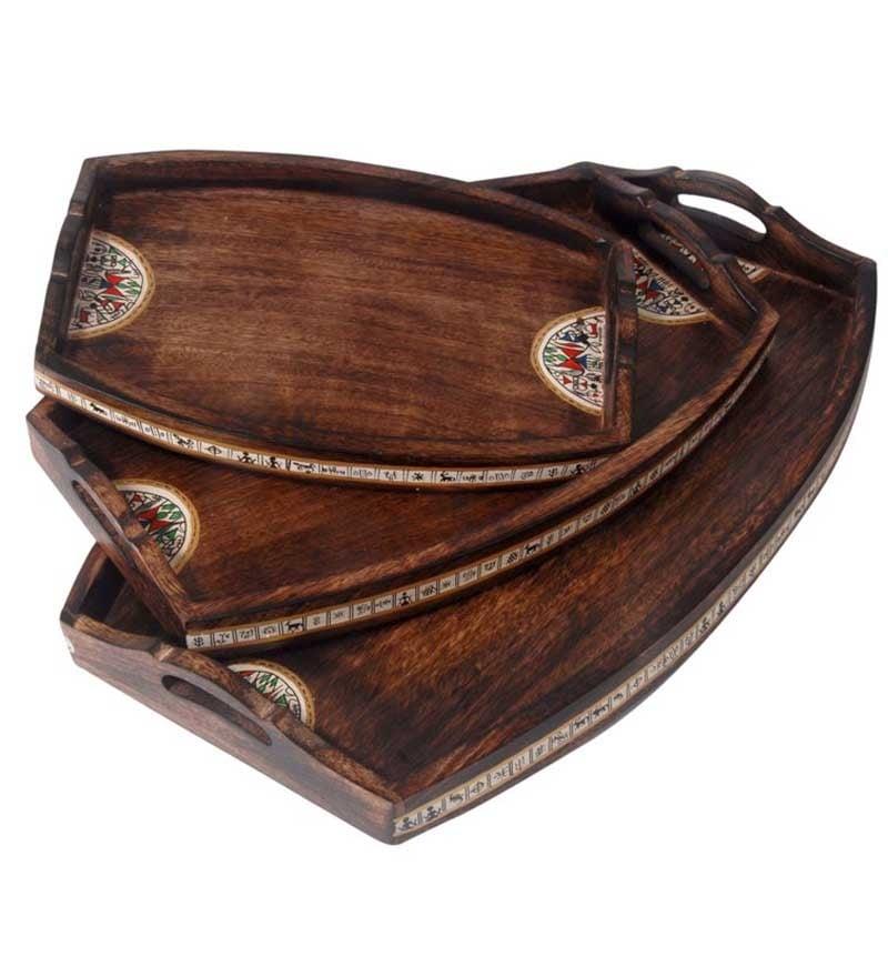 Unravel India Madhubani Brown Durable & Sturdy Tray