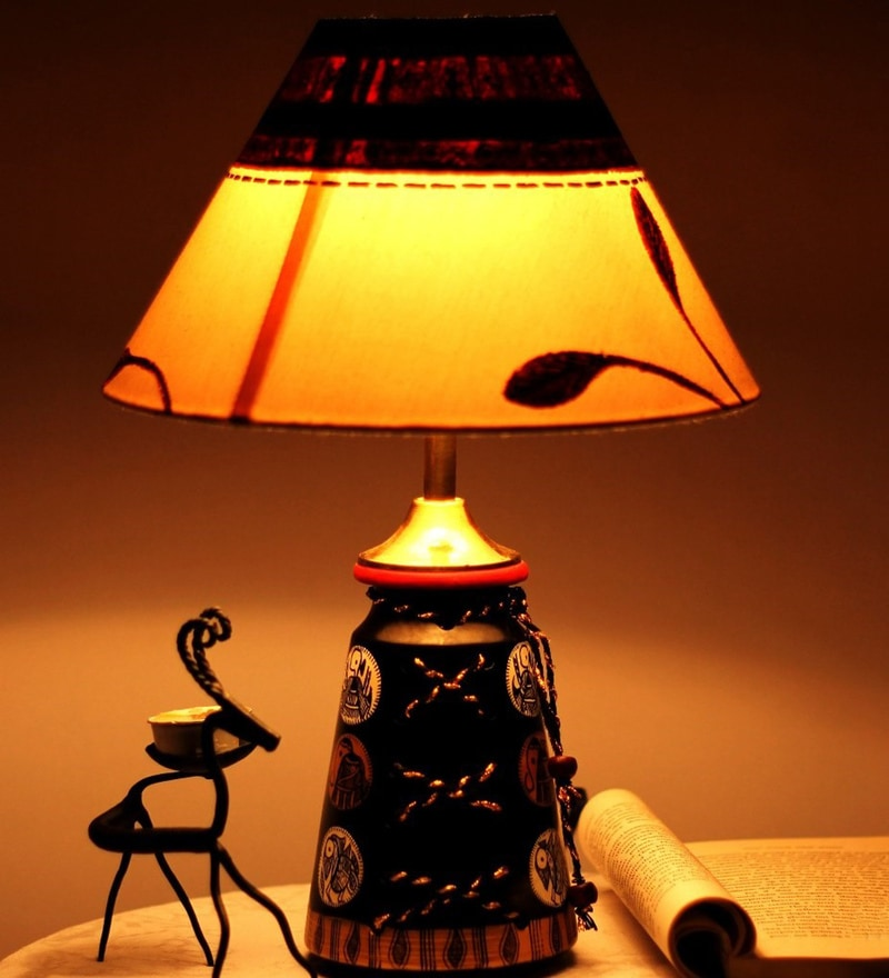 Buy Unravel India Multicolour Fabric Table Lamp Online